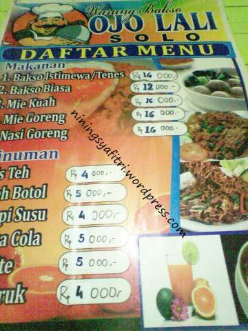 Can you read the menu? Let's offer. :D